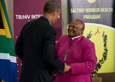 The Obamas in Africa | U.S. President Barack Obama talks with Bishop Desmond Tutu during a visit to the Demond Tutu HIV Foundation Youth Center on Sunday, 30 June. | Photo: AP Photo/Evan Vucci/ News24