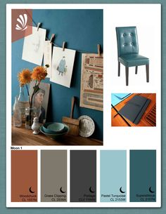color palette // orange teal turquoise and grey // master bedroom.  Will need blanket pillows and curtains