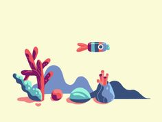 Animation Just a fish by Alexandra Lund 4d Animation, Animation Tutorial, Animation Reference, Lund, Anim Gif, Animated Gif, Fish Illustration, Graphic Design Illustration, Gifs