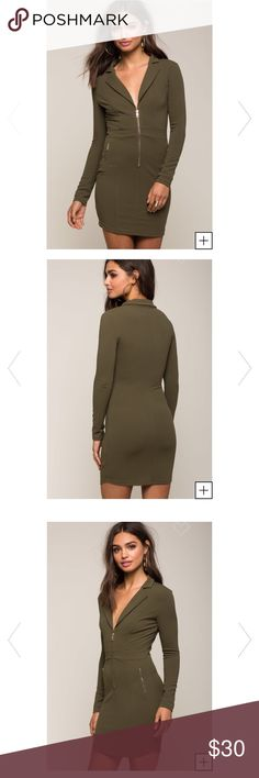 Olive green dress ! Brand new with tags Olive green front zip dress! Tags are still attached size M Dresses Midi