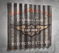 Retro cool. Hang this sign in your man-cave, garage, basement, or backyard deck. | Harley-Davidson Corrugated Metal Sign