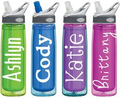 Name Decals for Personalized Water Bottles or Tumblers via Etsy. Only $3.00