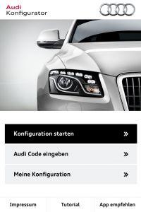 Newsflash: Audi Erster mit Konfigurator-App. Das ist die erste reine Konfigurator-App als Stand-Alone-Version eines Premium-Herstellers.
