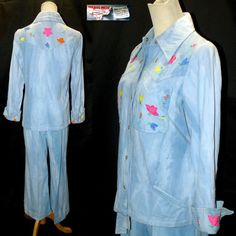 Vtg 70s Novelty Disco Embroidered Snap Up Shirt & Hip Hugger Bell Bottom Pant M   #70s novelty embroidered shirt and pants set, #hip hugger bell bottoms, #butterfly collar western style snap up shirt, #acid wash tie dye denim, #floral print, #disco queen, #Begies Way Sportswear, #mothball haven vintage threads, #gvs team