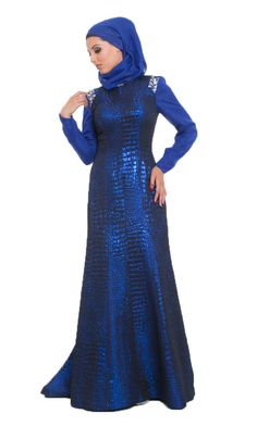 Amie Royal Blue Islamic Formal Long Dress with Hijab | Islamic Dresses at Artizara.com