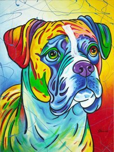Artwork of Steven Schuman Animal Paintings, Animal Drawings, Art Drawings, Dog Pop Art, Dog Art, Arte Pop, Cãezinhos Bulldog, Ciel Pastel, Boxer Dogs