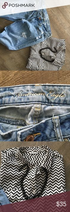 ⭐️AMERICAN EAGLE LOT!⭐️ Size ten pair of jeans that are destroyed style! The short is a XL however has the size tag off. This is a flowy chevron black and cram shirt that would grey with these jeans or a cute skirt! Hope you love these! Both items are American Eagle! American Eagle Outfitters Jeans
