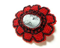 Black and Red Cameo Hair Clip   Megan's Beaded Designs