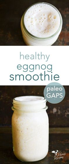 Dessert or breakfast? You choose with this delicious and nutritious paleo and GAPS-friendly healthy eggnog smoothie! #eggnog #smoothie #gapsdiet #paleo #healthytreats #dairyfree #refinedsugarfree