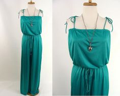 vintage 70s Green Tube Top One Piece Jumpsuit Sexy Gumby or American Hustle Costume S M by wardrobetheglobe, $44.44