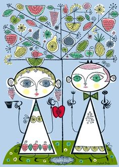 (by Melinda Beck) Adam and Eve . I love this artistic interpretation of Adam and Eve! Adam And Eve Apple, Motifs Textiles, Forbidden Fruit, You Draw, Fruit Art, Sacred Art, Art Background, Whimsical Art, Find Art