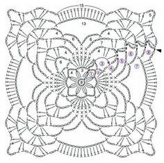 Transcendent Crochet a Solid Granny Square Ideas. Inconceivable Crochet a Solid Granny Square Ideas. Crochet Squares, Crochet Motif Patterns, Crochet Blocks, Granny Square Crochet Pattern, Crochet Chart, Thread Crochet, Crochet Designs, Crochet Granny, Crochet Tablecloth