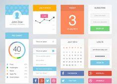 Flat+design+UI+Kit+(+PSD+)