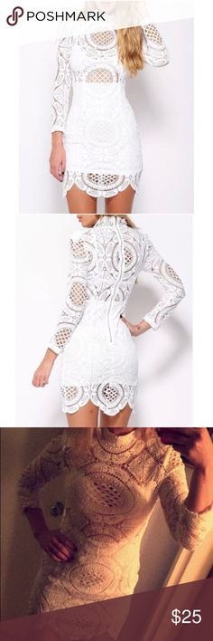 White Crotchet Zip Up Dress Never worn white long sleeved crotchet zip up dress. a'gaci Dresses Mini