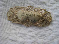 1930s golf  filigree victorian style sweetheart MOTHER  pin etsy shop:  VintageAngeline