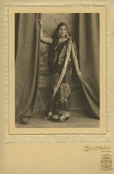 Studio Portrait of a Young Woman of Calcutta (Kolkata) in Sari - 1920s India