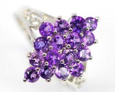 22.79Ct Stamped 925 Silver Ring Sz 8 / Natural Purple Amethyst gemstone ring , cluster silver ring , ring multi gemstone ring