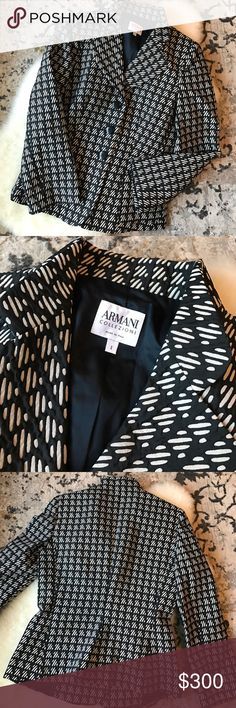 "Armani Collezioni blazer Beautiful patterned blazer with 3 buttons. 32.5"" from shoulder to bottom hem. Includes an extra button as well.********************My husband and I are in the process of adopting! Every dollar from the sales in my closet are currently being contributed to our adoption fund!********************* Armani Collezioni Jackets & Coats Blazers"