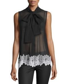 Sleeveless Silk Lace-Trim Blouse, Black by McQ Alexander McQueen at Neiman Marcus.