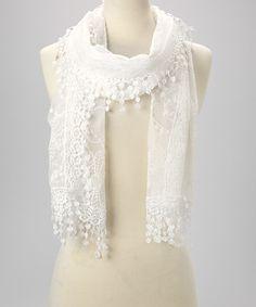 White Mesh Crochet Tassel Scarf