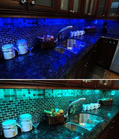 Custom kitchen design with LED colour changing RGB Strip lights by ...