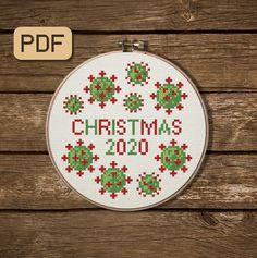 2020 Christmas Cross Stitch Pattern - Xmas, Coronavirus, Modern, Counted - Digital PDF Simple Cross Stitch, Cross Stitch Art, Modern Cross Stitch, Cross Stitching, Funny Cross Stitch Patterns, Embroidery Hoop Art, Embroidery Ideas, Beaded Embroidery, Needlepoint Patterns