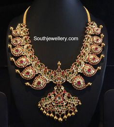 kundan_peacock_mango_necklace.jpg (862×960)