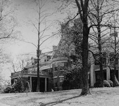 Century-old Guthrie Homestead, Fern Creek, Kentucky. Corner view of brick mansion fronted by trees with new leaves and small, manicured pines and bushes close to the house, which has pillared one and two story porches and a small curved wall of windows. University Of Louisville, Louisville Kentucky, Kentucky Derby, Louisville Metro, Old Pictures, Old Photos, Vintage Photos, Abandoned Mansions, Abandoned Places