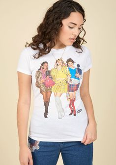 Pizzazz If! T-Shirt - White, Solid, Casual, Quirky, Short Sleeves, Winter, Good, Crew, Mid-length