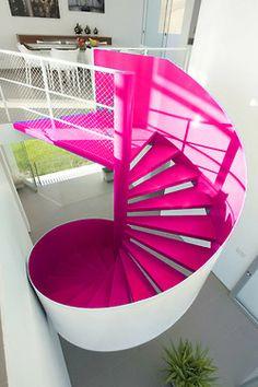 neon spiral staircase.