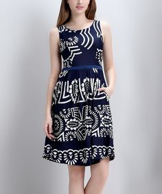 Love this Navy Geometric Sleeveless Fit & Flare Dress by Reborn Collection on #zulily! #zulilyfinds