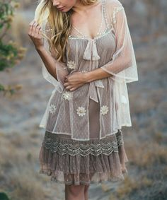 Look what I found on #zulily! Light Beige Sheer Floral Open Lace Cardigan by Ryu #zulilyfinds