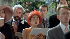 Four Weddings and a Funeral 1994 - Fiona, Gareth, Scarlett, Matthew, and an obscured Tom who is also Fiona's brother at wedding #1
