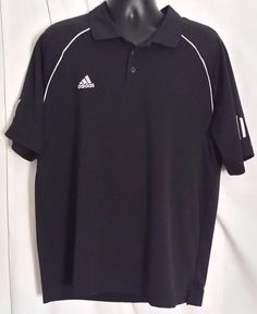 Adidas Men's Black Clima Cool Polyester Polo Shirt Size Large #adidas #PoloRugby
