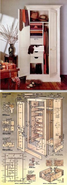 Wardrobe Plans - Furniture Plans and Projects | WoodArchivist.com #woodworkingplans