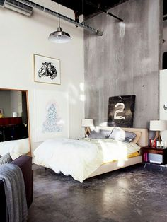 concrete bedroom design ideas that you can choose the best for you page 13 Quirky Bedroom, Bedroom Loft, Home Bedroom, Bedroom Decor, Bedrooms, Artistic Bedroom, Bedroom Ideas, Master Bedroom, Bedroom Frames