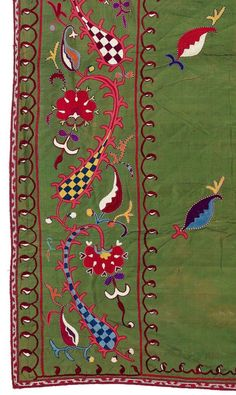 A rare Lakai Suzani (detail), uzbek tradtional embroidery, silk on silk, second half 19th century. Central Asia, Uzbekistan