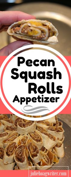 Looking for a sweet and tasty unique appetizer? Try out my Pecan Squash Rolls Appetizer recipe. Tastes like a dessert, but made with a vegetable. Simple 6 ingredients recipe. Appetizers for a party \ appetizers for a crowd \ vegetarian appetizers \ vegetarian appetizers for party \ vegetarian appetizers easy \ vegetarian appetizers for party holiday. affiliate.