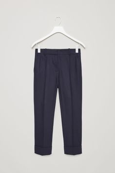 COS image 2 of Straight tailored wool trousers in Blue