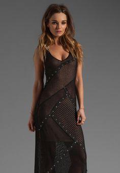 CATHERINE MALANDRINO Pointelle Maxi Dress in Noir