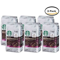 PACK OF 6 - Starbucks Espresso Roast Rich and Caramelly Dark Coffee 12 oz. Package *** Click image for more details. (This is an affiliate link and I receive a commission for the sales)
