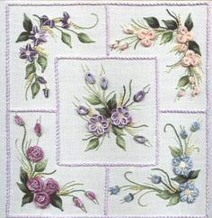 dimensional applique flowers patterns free | Brazilian Embroidery Design Five Flower Sampler