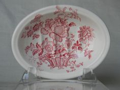 Red / Pink  Transferware Soap Dish Charlotte, Basket of Flowers, Plate by EnglishTransferware, $22.99