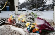 "A snow covered memorial grows, day after Calgary's worst mass murder. Five young people were stabbed to death at a house party... They came bearing bouquets of flowers, potted plants, &  a stone angel... they're angels now in heaven, somebody to look over their families. On the clear glass candle holder, someone wrote in black felt marker:  ""One with the stars. RIP... Forever my sibling""... In the snow & the cold, they looked on & sang Amazing Grace. Photo: Gavin Young, Calgary Herald…"
