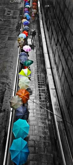 A splash of color in the rain! I would be the guy with no umbrella enjoying the rain. Umbrella Art, Under My Umbrella, Purple Umbrella, Color Splash, Color Pop, Colour Black, Pretty Pictures, Cool Photos, Hello Pictures