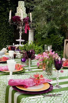 BRIDAL SHOWER by Colin Cowie Weddings! A Bridal Shower Where Elsa Schiaparelli meets Alice in Wonderland. Gorgeous Kim Seybert Bandhani fuchsia napkins and spider-beaded  napkin rings add the right touch of Boho to the setting.
