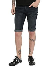 HOTTOPIC.COM - RUDE Indigo Skinny Fit Denim Shorts
