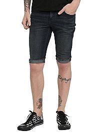 HOTTOPIC.COM - RUDE Indigo Skinny Fit Denim Shorts