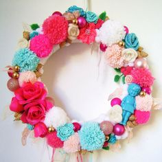Colourful Pink and Blue Pom Pom Christmas Wreath