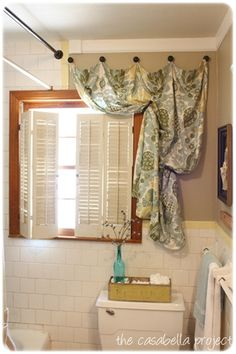 Bathroom Window Curtains, Bathroom Windows, Curtain Hanging, Window  Dressings,